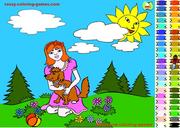 Игра Girl and Dog Coloring